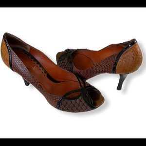 Bottega Veneta Leather Peep Toe Snakeskin Heels 39